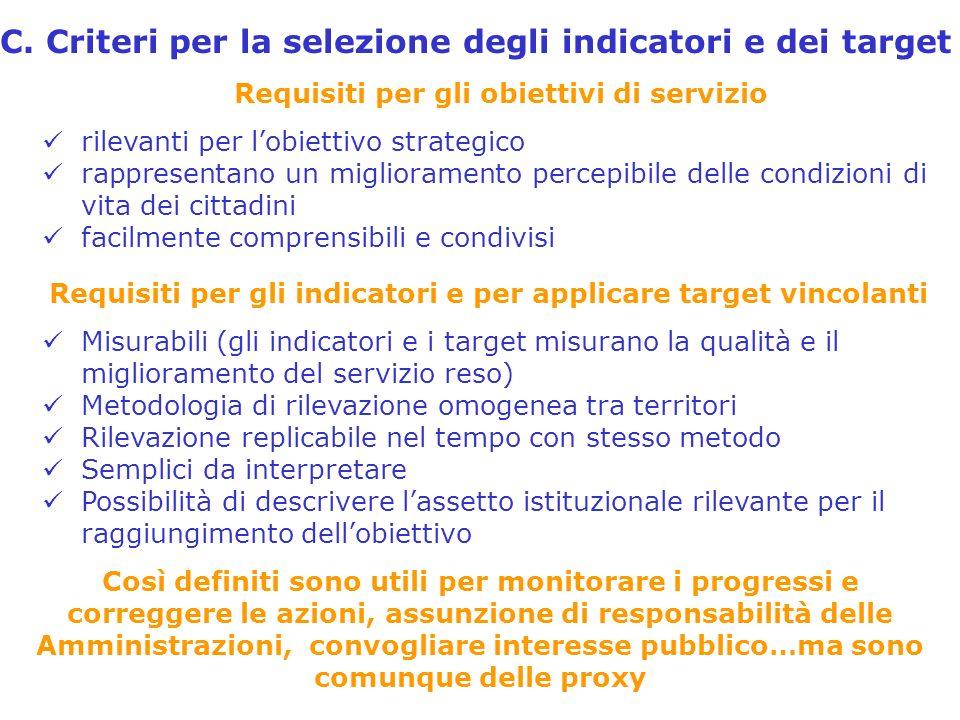 C. Criteri per la selezione degli indicatori e dei target rilevanti per lobiettivo strategico rappresentano un miglioramento percepibile delle condizi