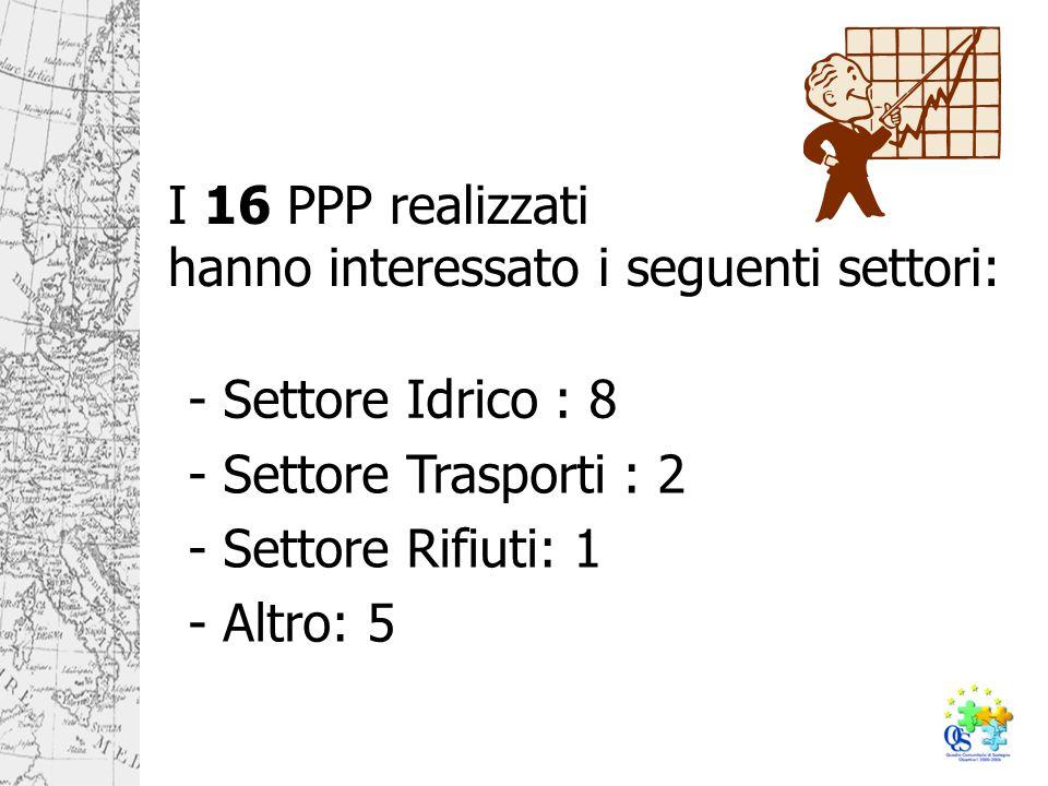 I 16 PPP realizzati hanno interessato i seguenti settori: - Settore Idrico : 8 - Settore Trasporti : 2 - Settore Rifiuti: 1 - Altro: 5