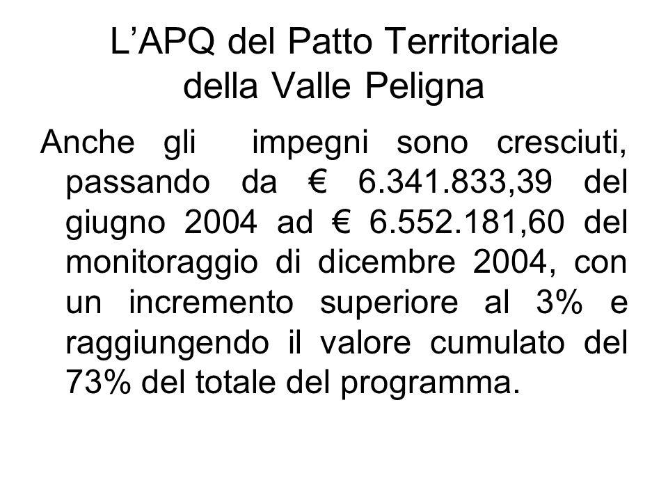 LAPQ del Patto Territoriale della Valle Peligna Anche gli impegni sono cresciuti, passando da 6.341.833,39 del giugno 2004 ad 6.552.181,60 del monitoraggio di dicembre 2004, con un incremento superiore al 3% e raggiungendo il valore cumulato del 73% del totale del programma.
