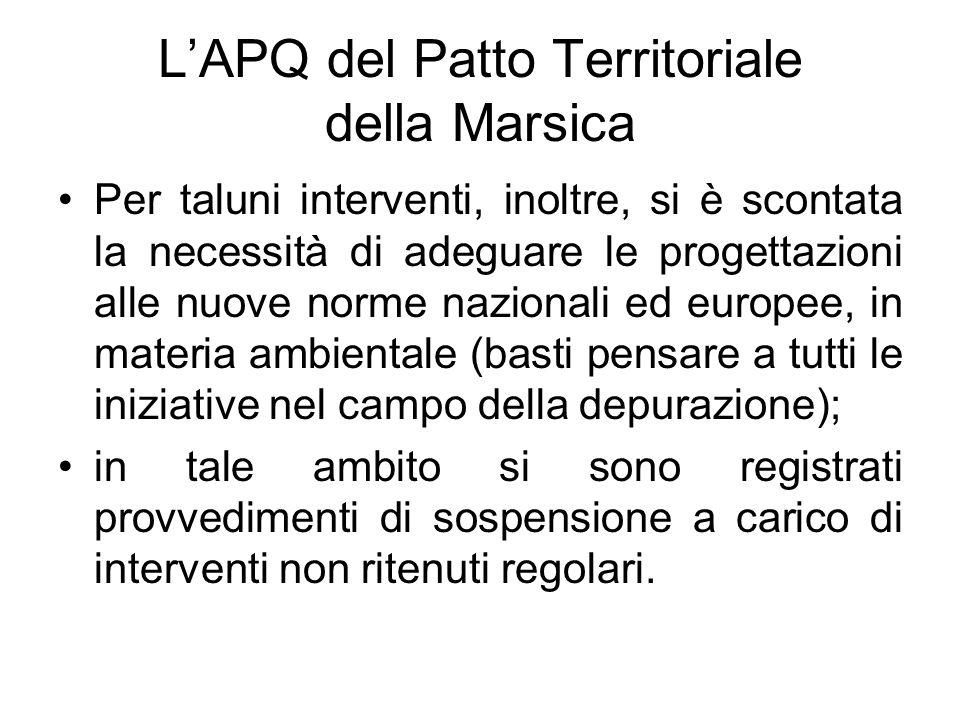 LAPQ del Patto Territoriale della Marsica Per taluni interventi, inoltre, si è scontata la necessità di adeguare le progettazioni alle nuove norme naz