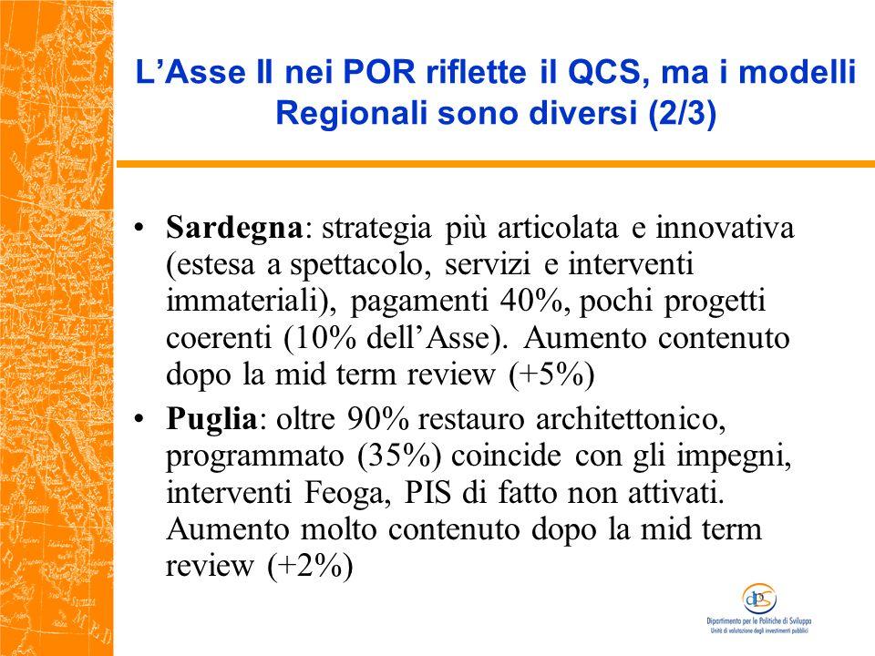 LAsse II nei POR riflette il QCS, ma i modelli Regionali sono diversi (2/3) Sardegna: strategia più articolata e innovativa (estesa a spettacolo, servizi e interventi immateriali), pagamenti 40%, pochi progetti coerenti (10% dellAsse).
