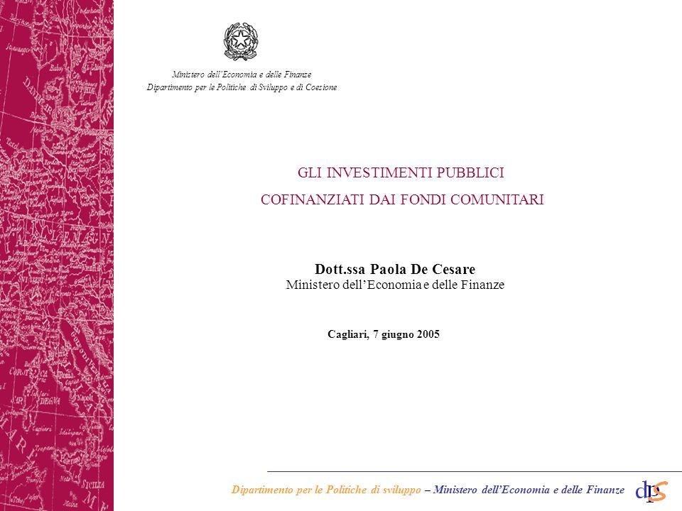 Dipartimento per le Politiche di sviluppo – Ministero dellEconomia e delle Finanze Cagliari, 7 giugno 2005 Dott.ssa Paola De Cesare Ministero dellEconomia e delle Finanze Dipartimento per le Politiche di Sviluppo e di Coesione GLI INVESTIMENTI PUBBLICI COFINANZIATI DAI FONDI COMUNITARI