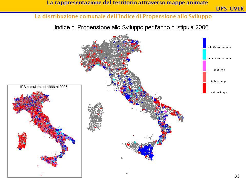 La rappresentazione del territorio attraverso mappe animate DPS-UVER 33 La distribuzione comunale dellIndice di Propensione allo Sviluppo