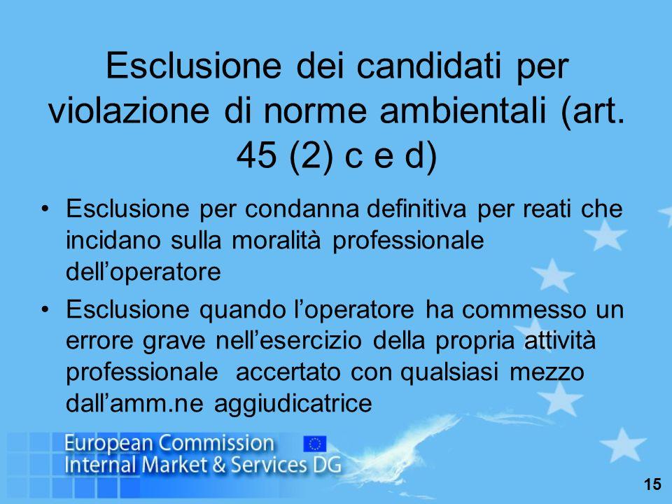 15 Esclusione dei candidati per violazione di norme ambientali (art.