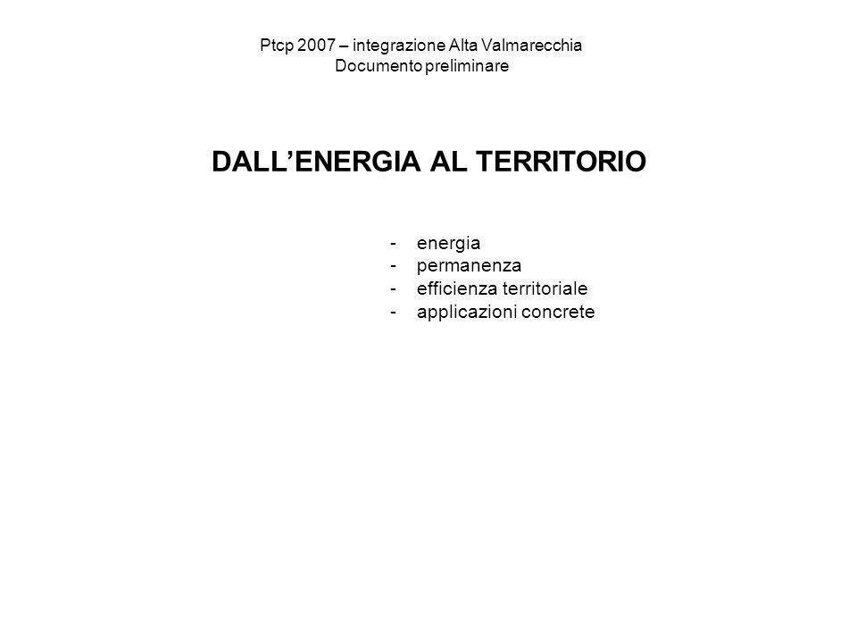 Ptcp 2007 – integrazione Alta Valmarecchia Documento preliminare DALLENERGIA AL TERRITORIO -energia -permanenza -efficienza territoriale -applicazioni concrete
