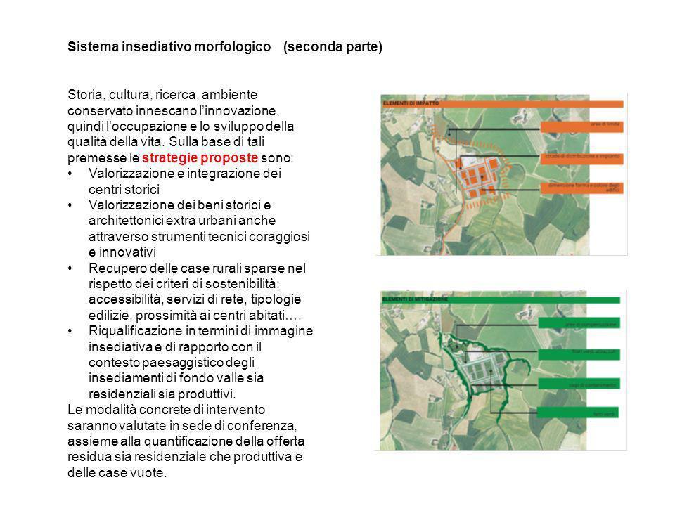 Sistema insediativo morfologico (seconda parte) Storia, cultura, ricerca, ambiente conservato innescano linnovazione, quindi loccupazione e lo sviluppo della qualità della vita.
