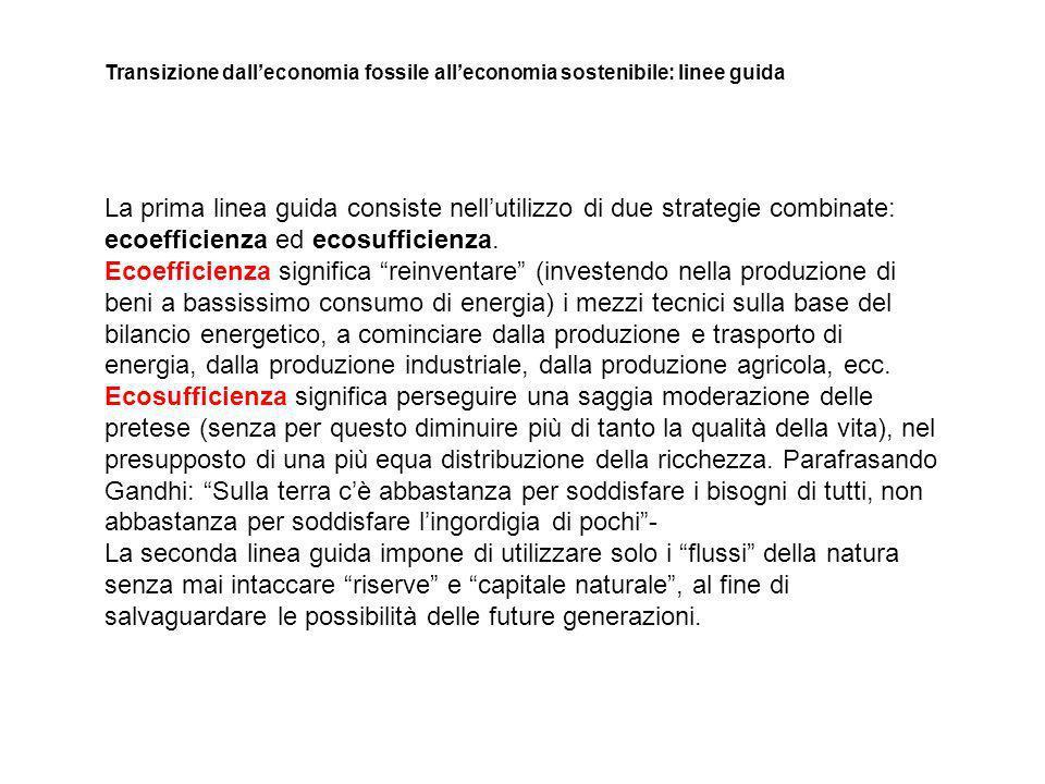 La prima linea guida consiste nellutilizzo di due strategie combinate: ecoefficienza ed ecosufficienza.