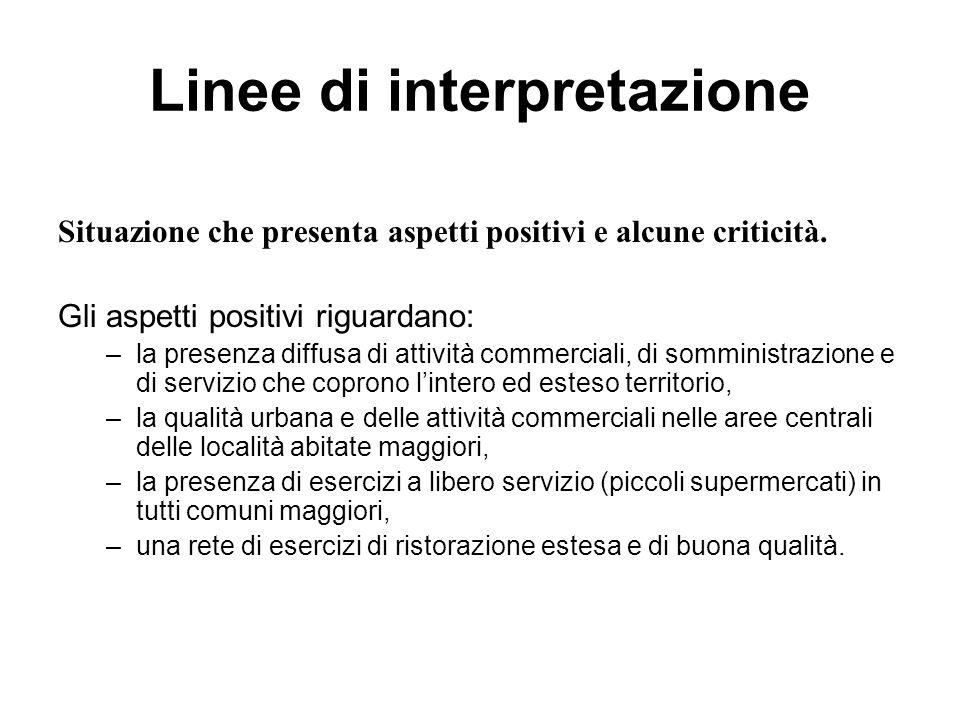 Linee di interpretazione Situazione che presenta aspetti positivi e alcune criticità.