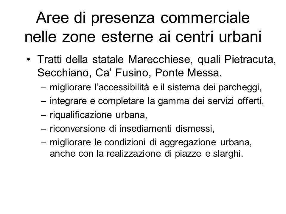 Aree di presenza commerciale nelle zone esterne ai centri urbani Tratti della statale Marecchiese, quali Pietracuta, Secchiano, Ca Fusino, Ponte Messa.