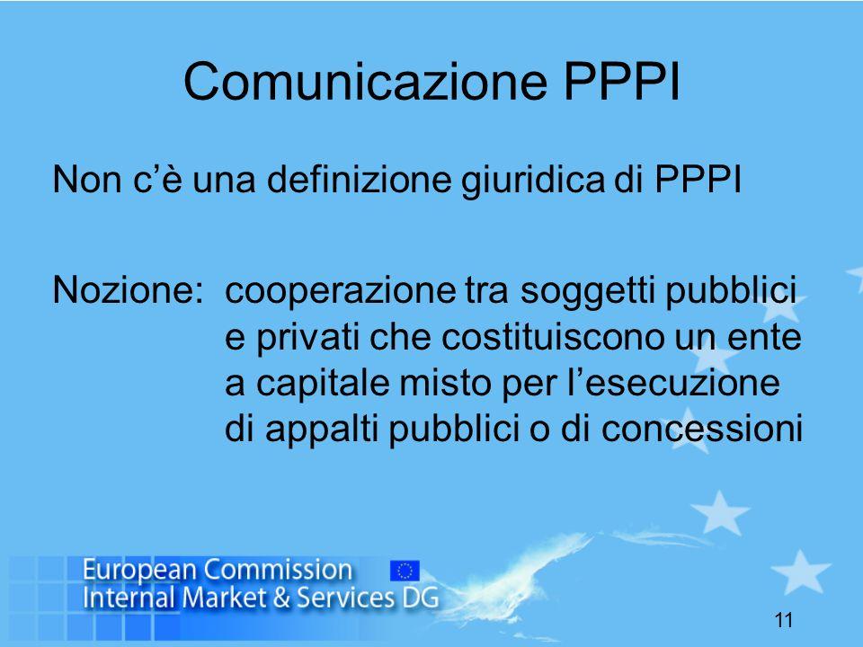 11 Comunicazione PPPI Non cè una definizione giuridica di PPPI Nozione: cooperazione tra soggetti pubblici e privati che costituiscono un ente a capit