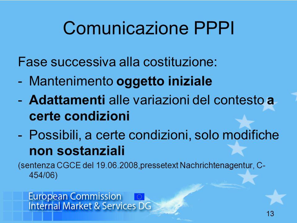 13 Comunicazione PPPI Fase successiva alla costituzione: -Mantenimento oggetto iniziale -Adattamenti alle variazioni del contesto a certe condizioni -