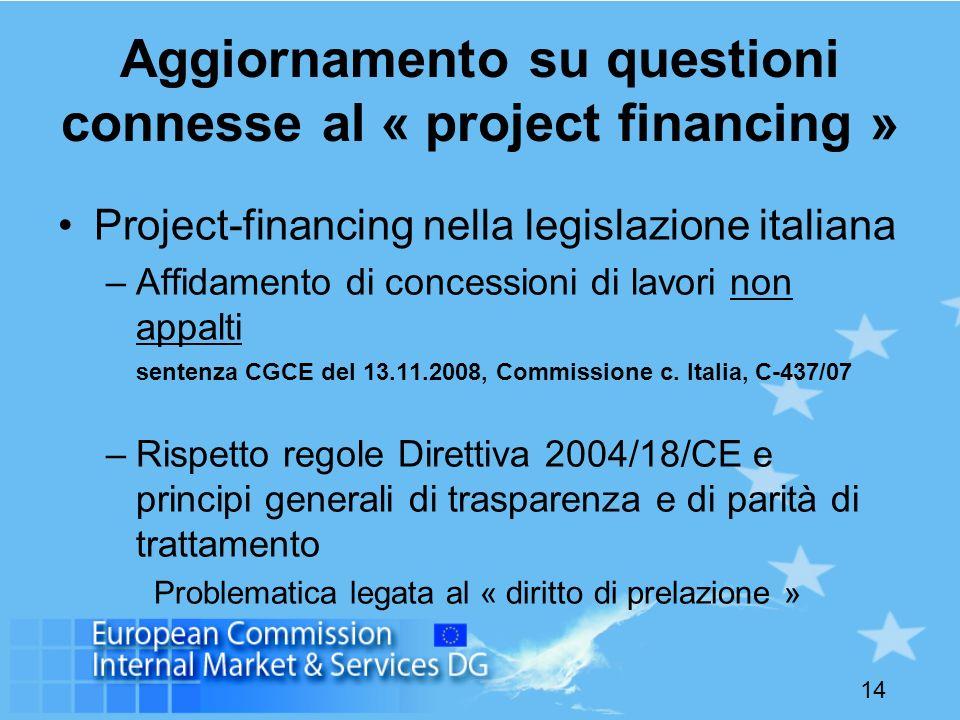 14 Aggiornamento su questioni connesse al « project financing » Project-financing nella legislazione italiana –Affidamento di concessioni di lavori no