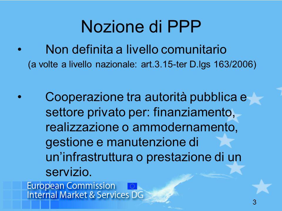 3 Nozione di PPP Non definita a livello comunitario (a volte a livello nazionale: art.3.15-ter D.lgs 163/2006) Cooperazione tra autorità pubblica e se
