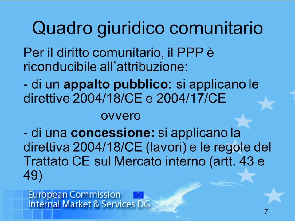 7 Quadro giuridico comunitario Per il diritto comunitario, il PPP è riconducibile allattribuzione: - di un appalto pubblico: si applicano le direttive
