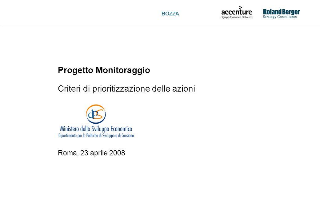 BOZZA 1 Progetto Monitoraggio Criteri di prioritizzazione delle azioni Roma, 23 aprile 2008