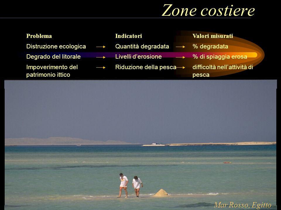 Zone costiere Problema Distruzione ecologica Degrado del litorale Impoverimento del patrimonio ittico Indicatori Quantità degradata Livelli derosione