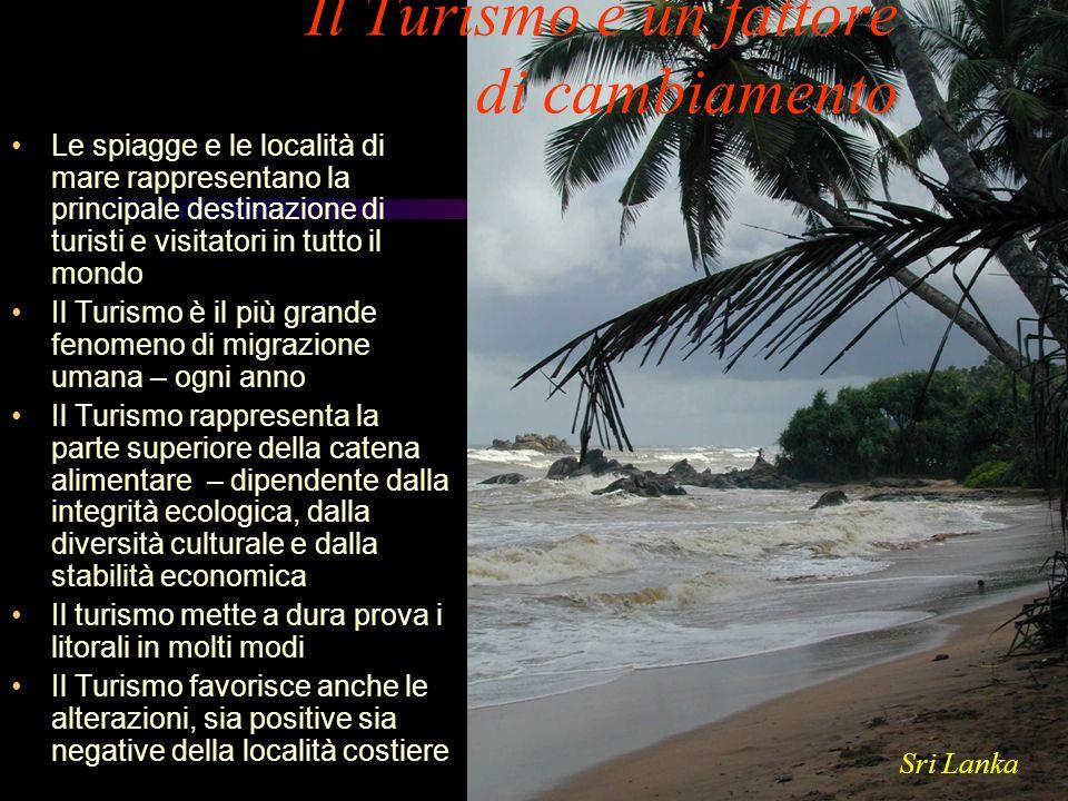 Il Turismo è un fattore di cambiamento Le spiagge e le località di mare rappresentano la principale destinazione di turisti e visitatori in tutto il m