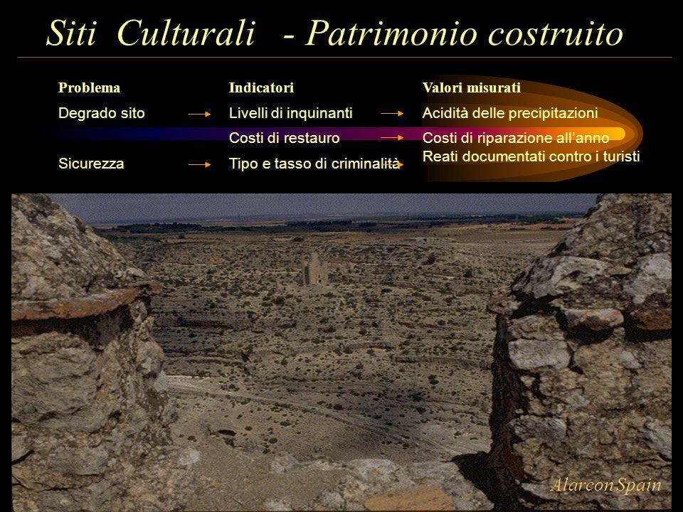 Siti Culturali - Patrimonio costruito Problema Degrado sito Sicurezza Indicatori Livelli di inquinanti Costi di restauro Tipo e tasso di criminalità V