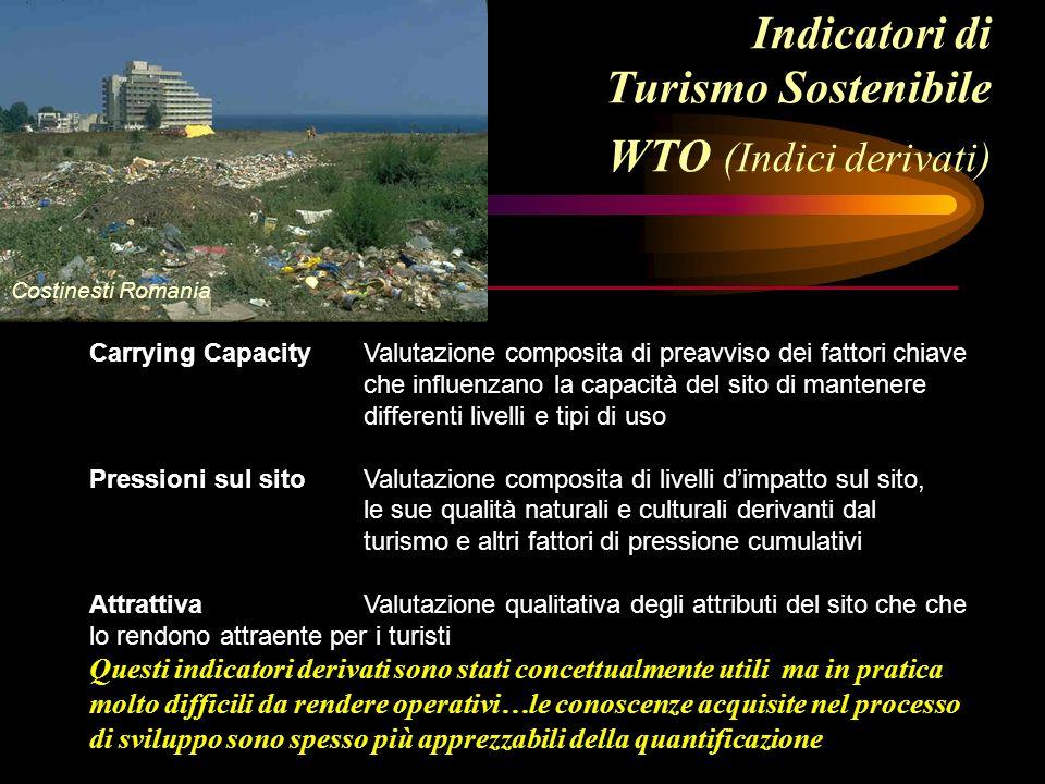 Indicatori di Turismo Sostenibile WTO (Indici derivati) Carrying CapacityValutazione composita di preavviso dei fattori chiave che influenzano la capa