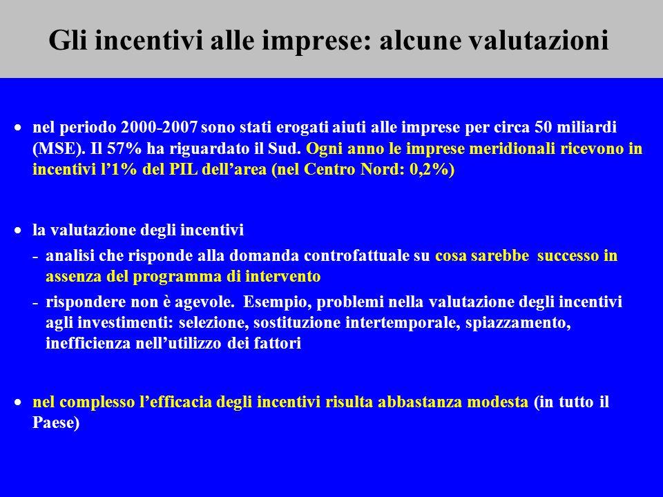 Gli incentivi alle imprese: alcune valutazioni nel periodo 2000-2007 sono stati erogati aiuti alle imprese per circa 50 miliardi (MSE). Il 57% ha rigu