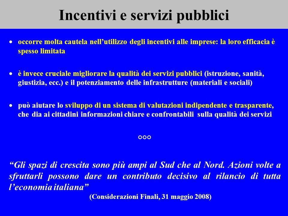 Incentivi e servizi pubblici occorre molta cautela nellutilizzo degli incentivi alle imprese: la loro efficacia è spesso limitata è invece cruciale mi