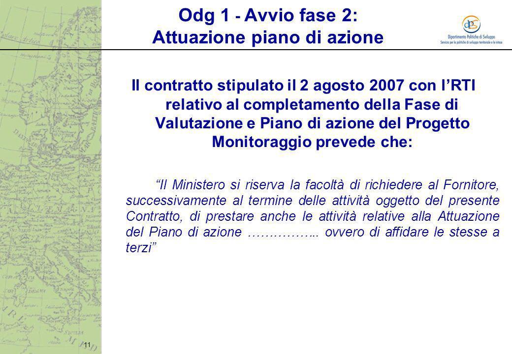 11 Odg 1 - Avvio fase 2: Attuazione piano di azione Il contratto stipulato il 2 agosto 2007 con lRTI relativo al completamento della Fase di Valutazio
