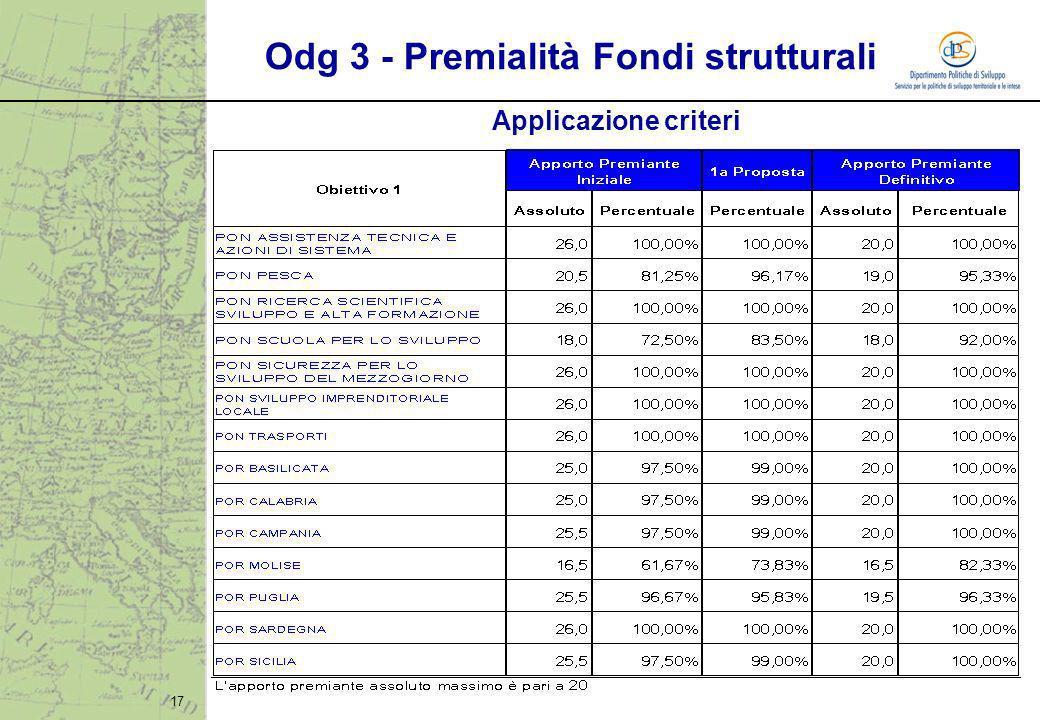 17 Applicazione criteri Odg 3 - Premialità Fondi strutturali