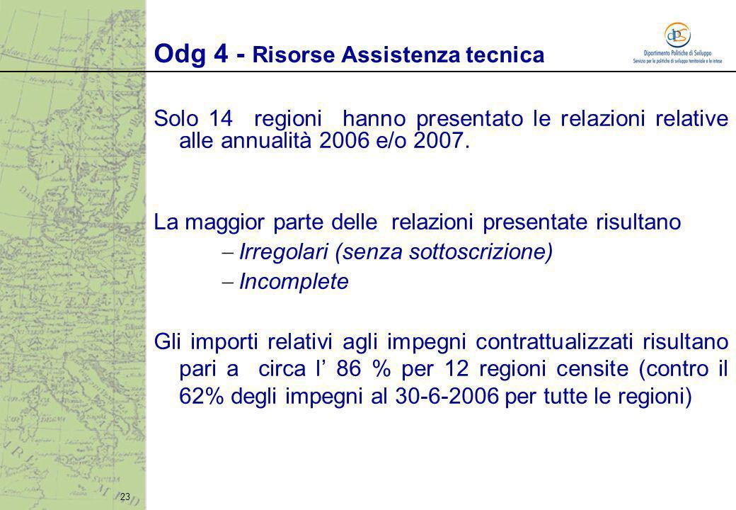 23 Solo 14 regioni hanno presentato le relazioni relative alle annualità 2006 e/o 2007. La maggior parte delle relazioni presentate risultano Irregola