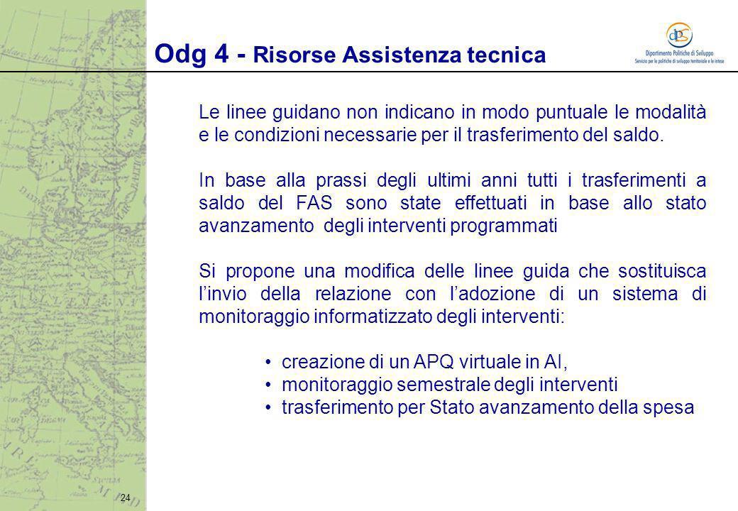 24 Le linee guidano non indicano in modo puntuale le modalità e le condizioni necessarie per il trasferimento del saldo.