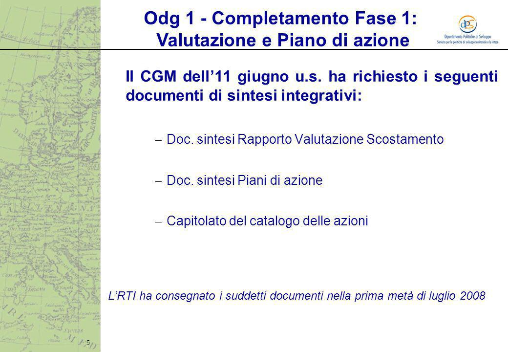 5 Il CGM dell11 giugno u.s. ha richiesto i seguenti documenti di sintesi integrativi: Doc. sintesi Rapporto Valutazione Scostamento Doc. sintesi Piani