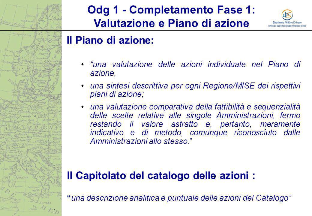 7 Il Piano di azione: una valutazione delle azioni individuate nel Piano di azione, una sintesi descrittiva per ogni Regione/MISE dei rispettivi piani