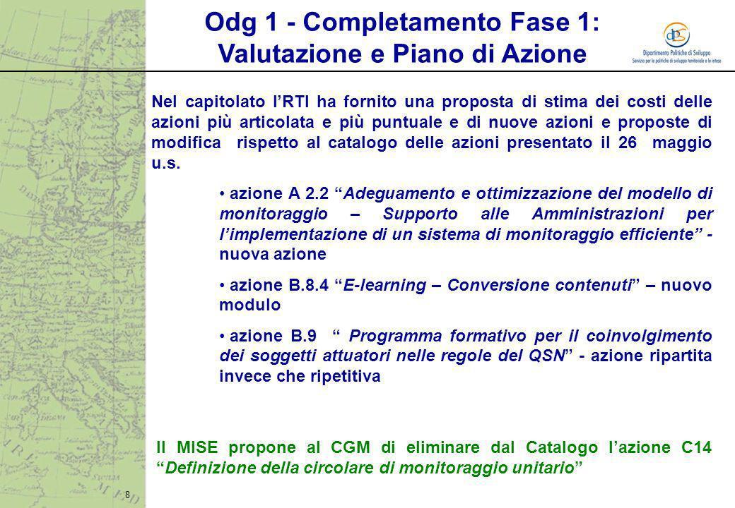 8 Nel capitolato lRTI ha fornito una proposta di stima dei costi delle azioni più articolata e più puntuale e di nuove azioni e proposte di modifica r