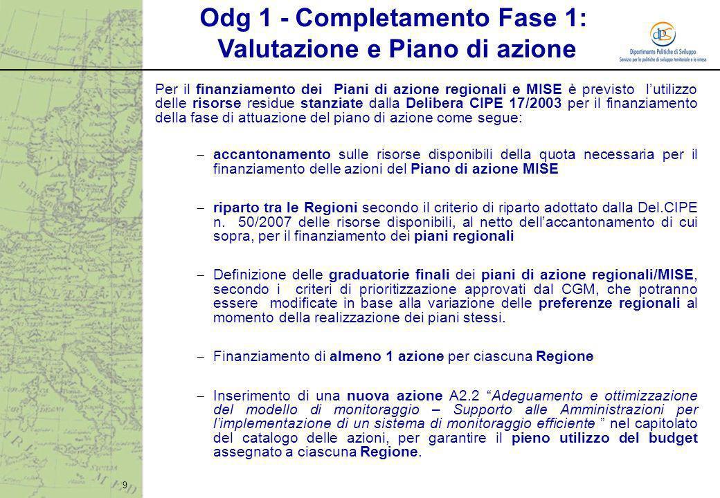 9 Per il finanziamento dei Piani di azione regionali e MISE è previsto lutilizzo delle risorse residue stanziate dalla Delibera CIPE 17/2003 per il fi
