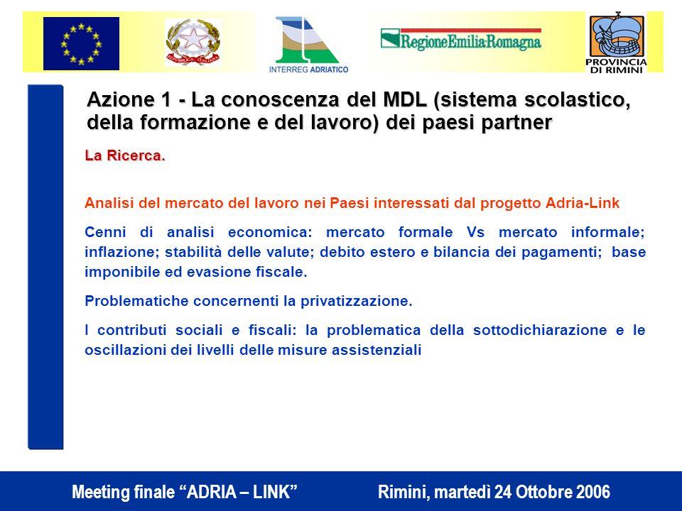 Meeting finale ADRIA – LINK Rimini, martedì 24 Ottobre 2006 Azione 1 - La conoscenza del MDL (sistema scolastico, della formazione e del lavoro) dei paesi partner La Ricerca.