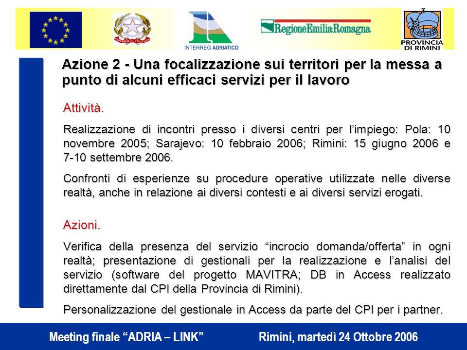Meeting finale ADRIA – LINK Rimini, martedì 24 Ottobre 2006 Azione 2 - Una focalizzazione sui territori per la messa a punto di alcuni efficaci servizi per il lavoro Attività.