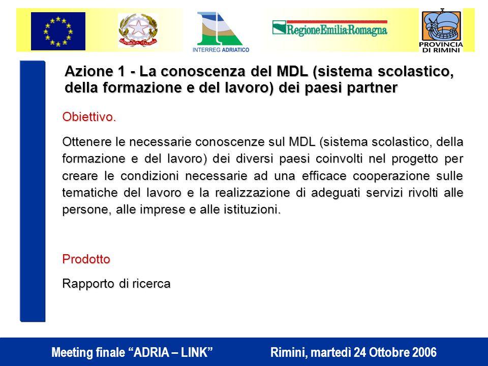 Meeting finale ADRIA – LINK Rimini, martedì 24 Ottobre 2006 Azione 1 - La conoscenza del MDL (sistema scolastico, della formazione e del lavoro) dei paesi partner Obiettivo.