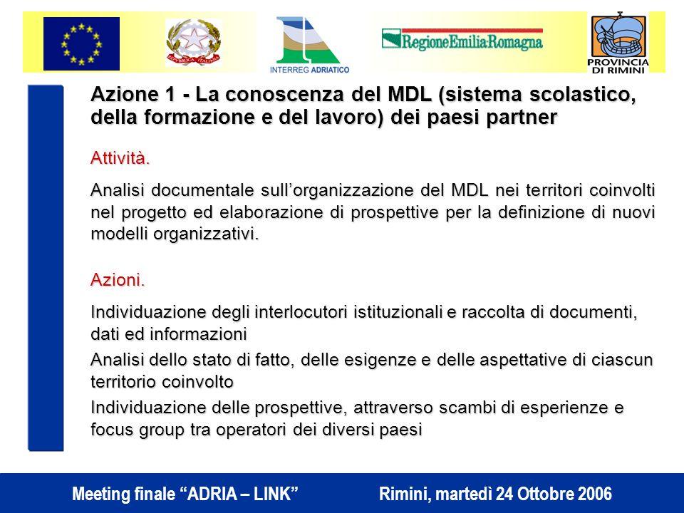Meeting finale ADRIA – LINK Rimini, martedì 24 Ottobre 2006 Azione 1 - La conoscenza del MDL (sistema scolastico, della formazione e del lavoro) dei paesi partner Attività.