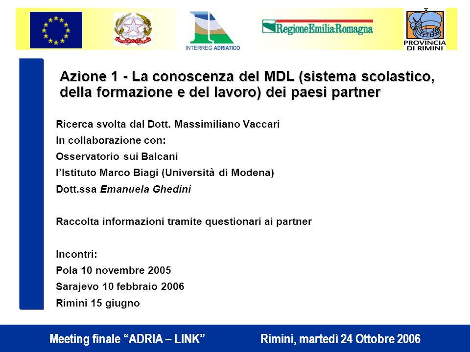 Meeting finale ADRIA – LINK Rimini, martedì 24 Ottobre 2006 Ricerca svolta dal Dott.