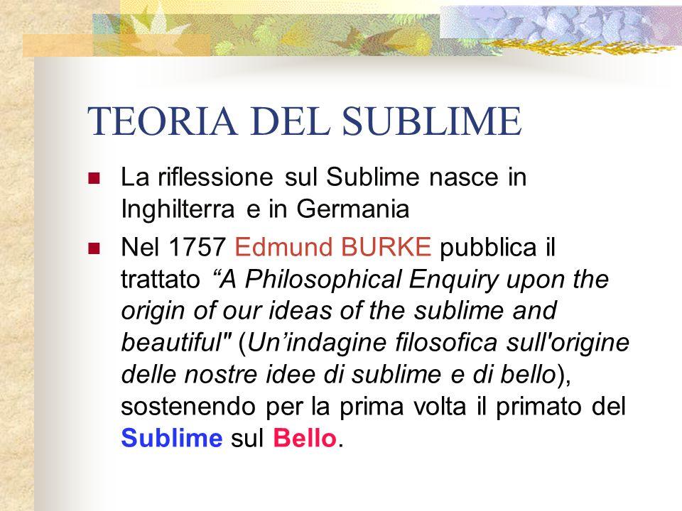 TEORIA DEL SUBLIME La riflessione sul Sublime nasce in Inghilterra e in Germania Nel 1757 Edmund BURKE pubblica il trattato A Philosophical Enquiry up
