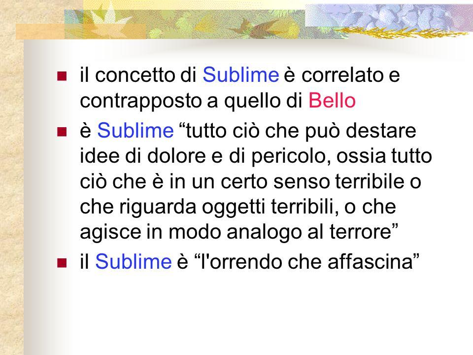 il concetto di Sublime è correlato e contrapposto a quello di Bello è Sublime tutto ciò che può destare idee di dolore e di pericolo, ossia tutto ciò