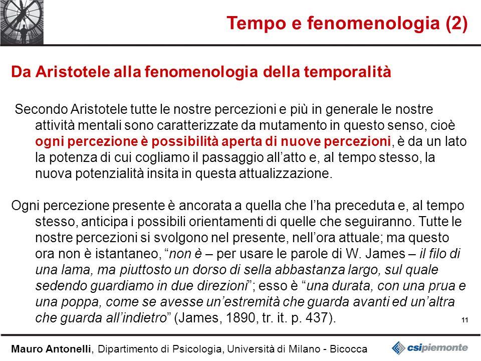11 Mauro Antonelli, Dipartimento di Psicologia, Università di Milano - Bicocca Tempo e fenomenologia (2) Da Aristotele alla fenomenologia della tempor