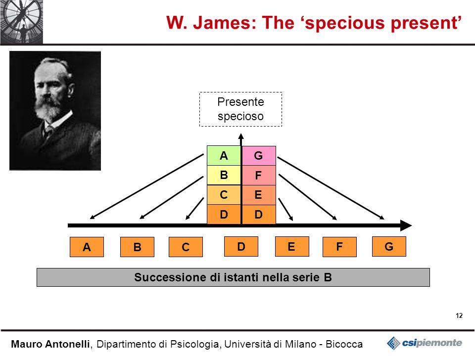 12 Mauro Antonelli, Dipartimento di Psicologia, Università di Milano - Bicocca W. James: The specious present Successione di istanti nella serie B D C