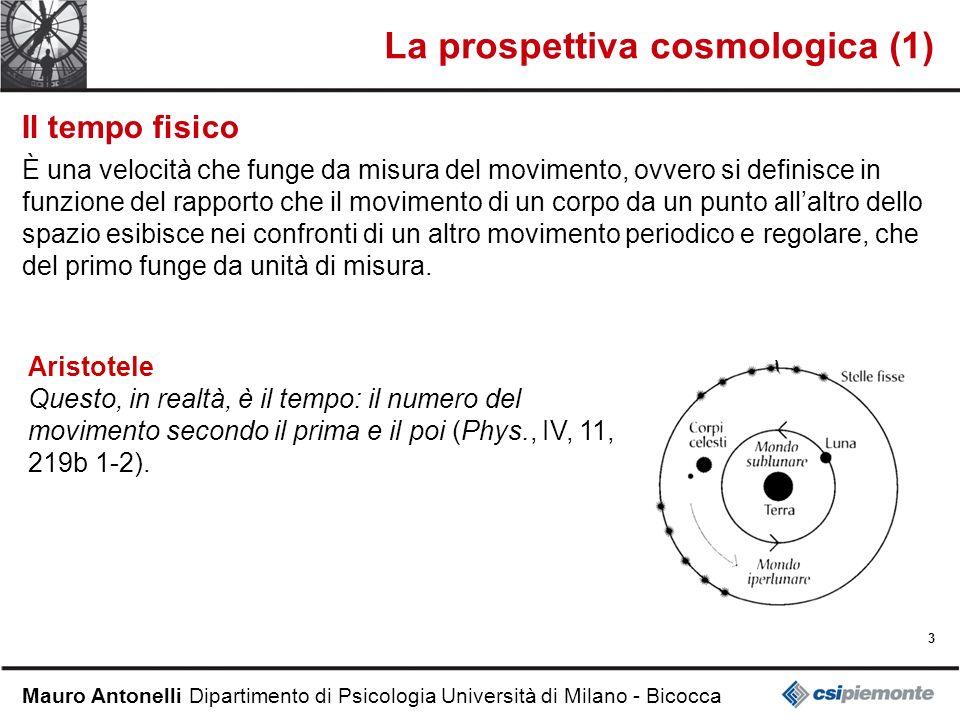 3 Mauro Antonelli Dipartimento di Psicologia Università di Milano - Bicocca La prospettiva cosmologica (1) Il tempo fisico È una velocità che funge da
