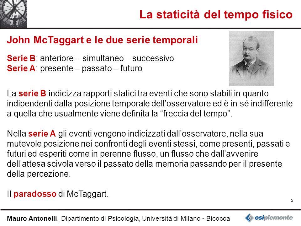 5 Mauro Antonelli, Dipartimento di Psicologia, Università di Milano - Bicocca La staticità del tempo fisico John McTaggart e le due serie temporali Se