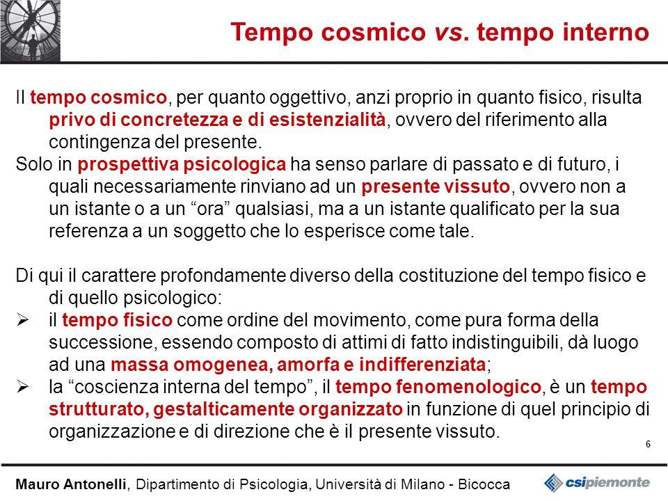 6 Mauro Antonelli, Dipartimento di Psicologia, Università di Milano - Bicocca Tempo cosmico vs. tempo interno Il tempo cosmico, per quanto oggettivo,
