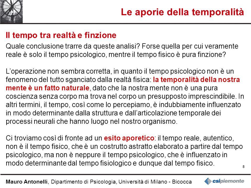 8 Mauro Antonelli, Dipartimento di Psicologia, Università di Milano - Bicocca Le aporie della temporalità Il tempo tra realtà e finzione Quale conclusione trarre da queste analisi.