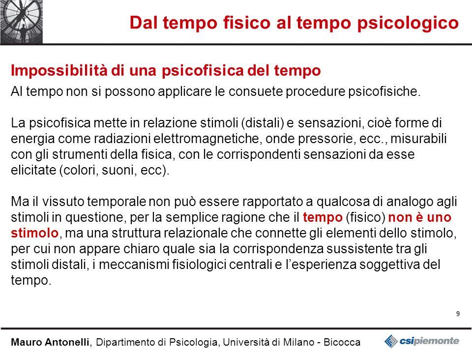 9 Mauro Antonelli, Dipartimento di Psicologia, Università di Milano - Bicocca Dal tempo fisico al tempo psicologico Impossibilità di una psicofisica del tempo Al tempo non si possono applicare le consuete procedure psicofisiche.