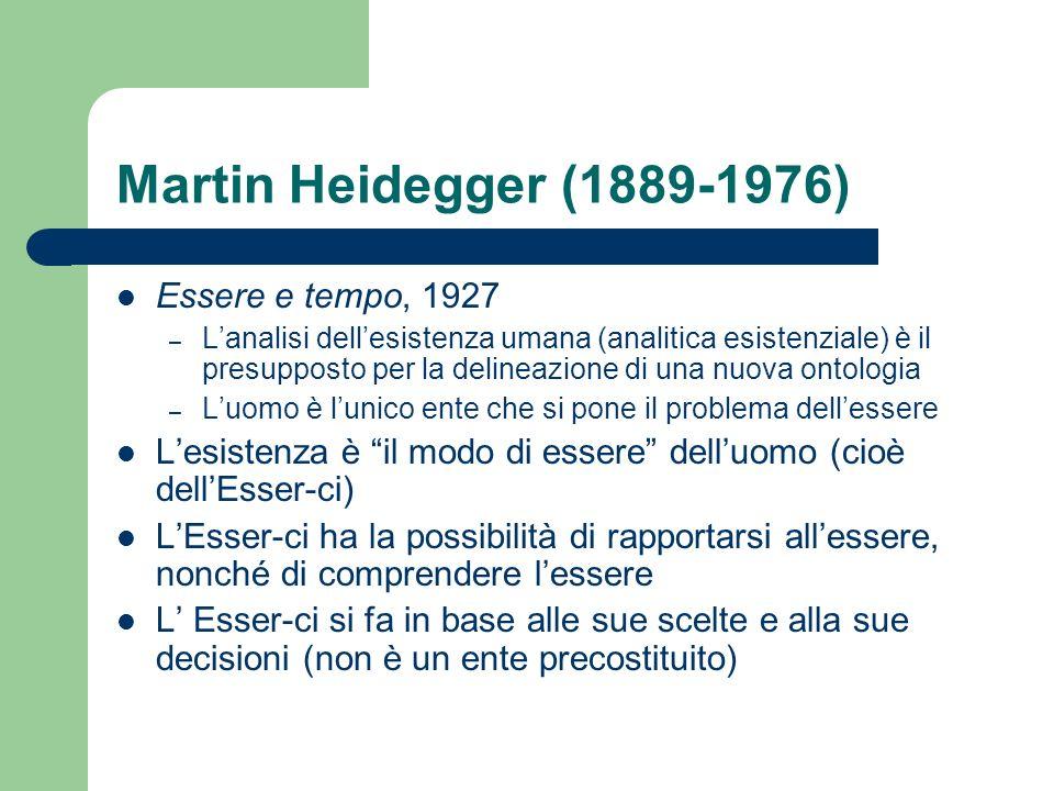 Martin Heidegger (1889-1976) Essere e tempo, 1927 – Lanalisi dellesistenza umana (analitica esistenziale) è il presupposto per la delineazione di una