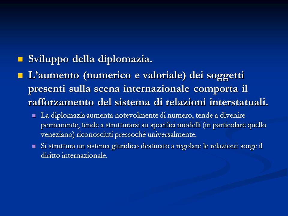 Sviluppo della diplomazia. Sviluppo della diplomazia. Laumento (numerico e valoriale) dei soggetti presenti sulla scena internazionale comporta il raf