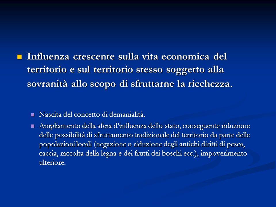 Influenza crescente sulla vita economica del territorio e sul territorio stesso soggetto alla sovranità allo scopo di sfruttarne la ricchezza. Influen